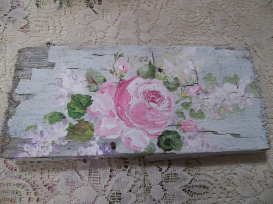 (Rose And Lilac Chipping Paint) Handpainted Sign