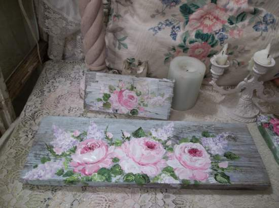 (Light Lilac And Roses)  Handpainted Sign