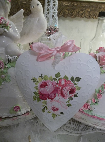 (Aimie) Handpainted Tin Heart Ornament