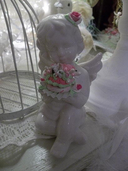 (The Bakery Cakery Cupid) Pretty ceramic Angel, Cupid Holding Handmade Clay Roses! Victorian, Valentine's Day, Romantic, Decor., A Perfect Little Angel!
