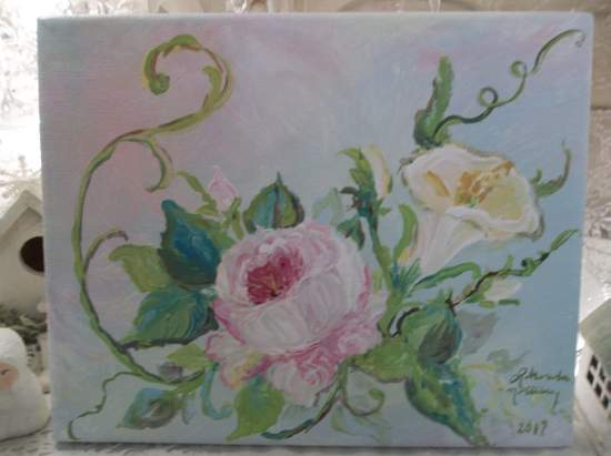 (Morning Glory Rose) Original acrylic painting by Rhonda Motteberg on stretched Canvas