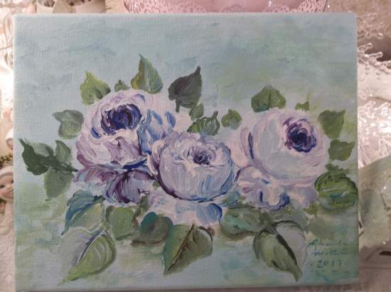 (Lavender Blue Dilly Dilly) Original acrylic painting by Rhonda Motteberg on stretched Canvas