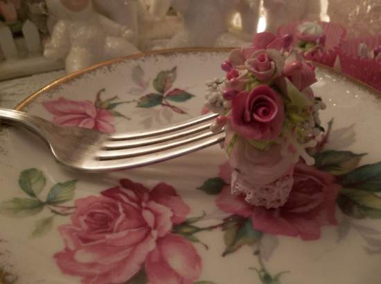 (Holly) Vintage Fork, Bite Of Fake Cake
