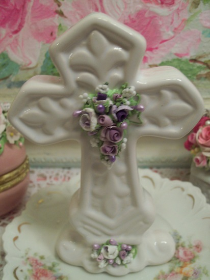 (Lavender Lilian) Ceramic Cross Decorated With Handmade Clay Roses By Rhonda Motteberg