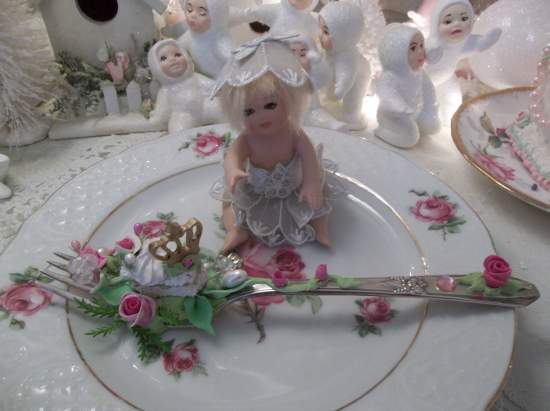 (To Catch A Crown Fairy) Vintage Fork, Bite Of Fake Cake Fairy Food