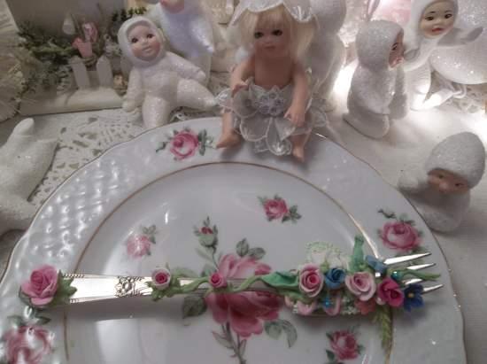 (Sherry Fairy) Vintage Fork, Bite Of Fake Cake Fairy Food