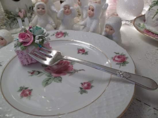 (Roxanne) Vintage Fork, Bite Of Fake Cake