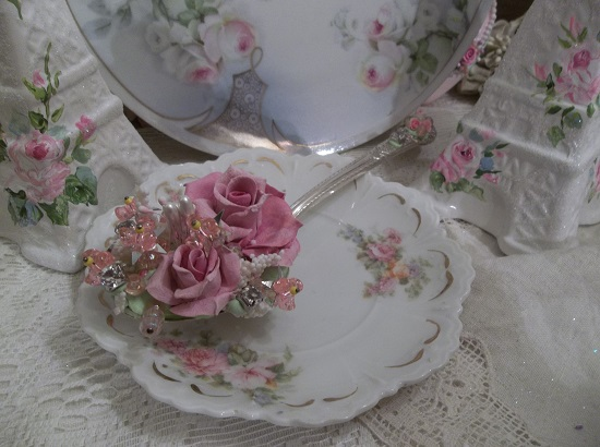 (Janet) Vintage Decorated Larger Tablespoon