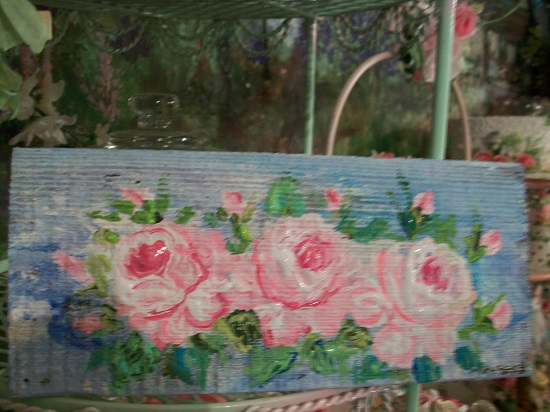 (Monet's Rose Garden) Handpainted Sign