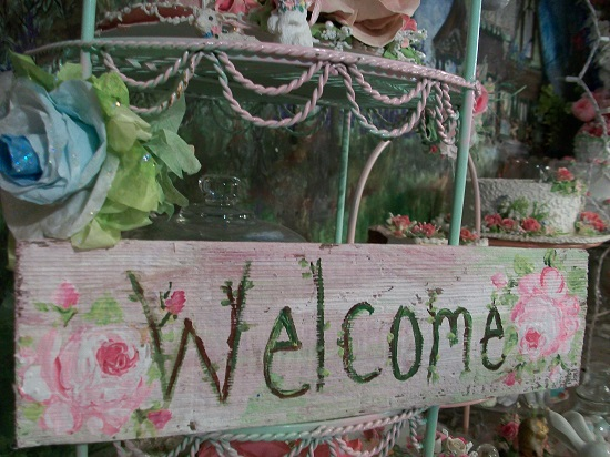 (Welcome 2 Roses) Handpainted Sign
