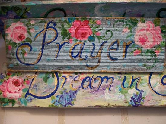 (Blue In Prayer) Handpainted Sign