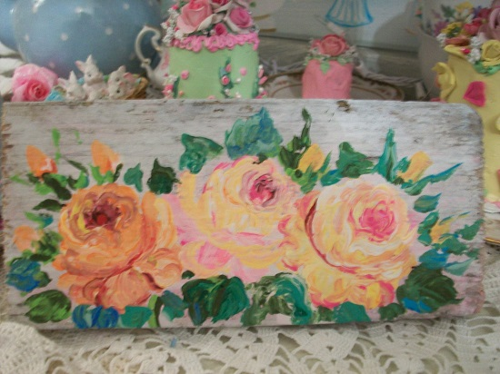 (Sherbet Shades Of Roses) Handpainted Sign