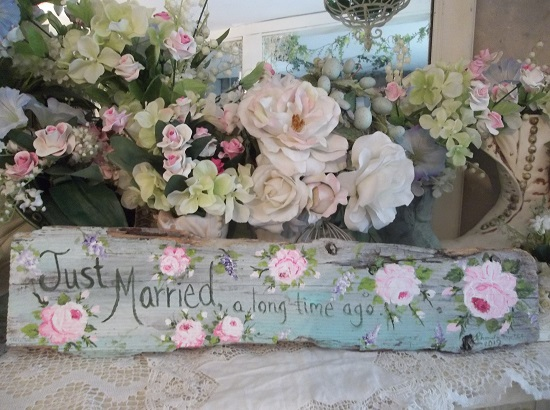 (Just Married A Long Time Ago) Handpainted Sign