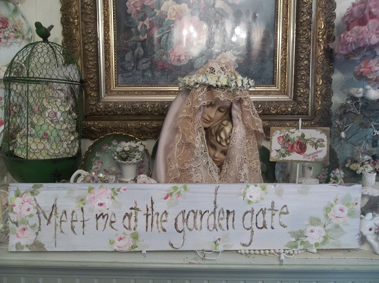 (Dreamy, Meet Me At The Garden Gate) Handpainted Sign