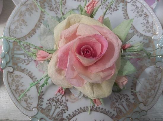 (Mango Tango) Handmade Paper Rose Clip