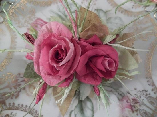 (Toni) Handmade Paper Rose Clip