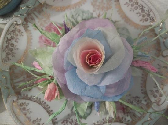 (Rae) Handmade Paper Rose Clip