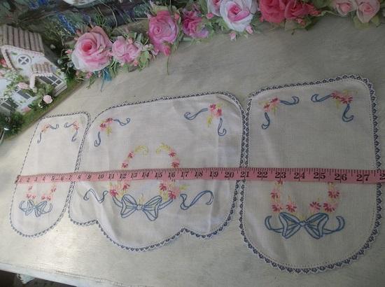 (3 Handmade Linens) 3 Piece Set Of Vintage Handmade Linens