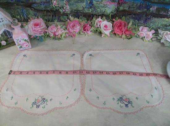 (Basket O Flowers) 2 Piece Set Of Vintage Handmade Linens