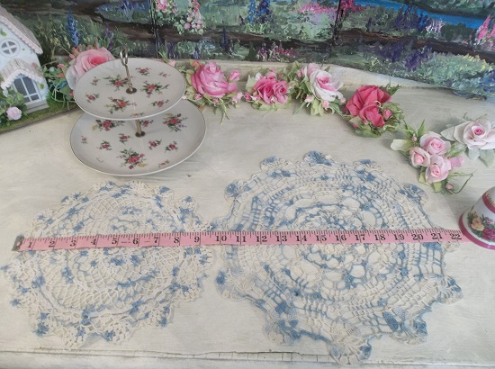 (Set Of 2 Blue) 2 Piece Set Of Vintage Handmade Linens