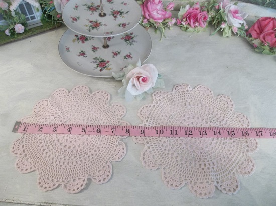 (Vintage Pinks) Set Of 2 Vintage Doilies