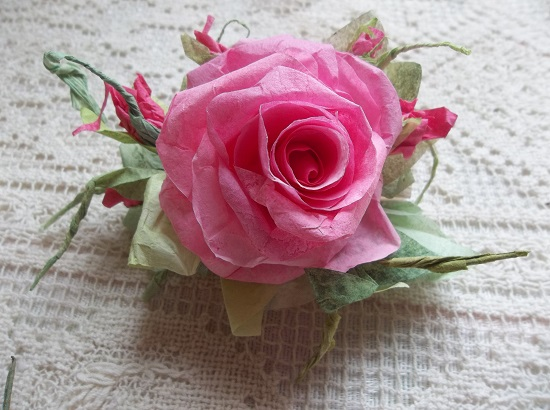 (Shasta Shan) Handmade Paper Rose Clip