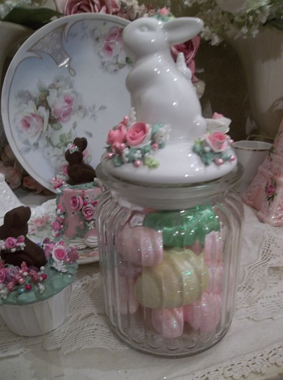 (Joan) Decorated Jar Of Foam Eggs