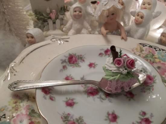 (Just A Beautiful Bite) Vintage Teaspoon Decoration. Bite Of Cake On A Vintage Teaspoon.
