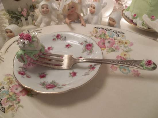 (The Queen Of Cream) Decorated Vintage Fork, Bite Of Fake Cake