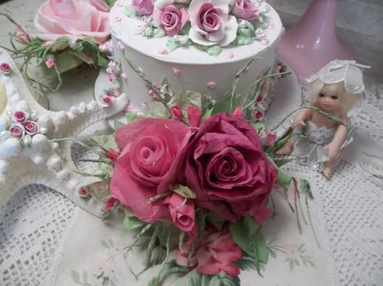 (Vintage Valentina) Handmade Paper Rose Clip