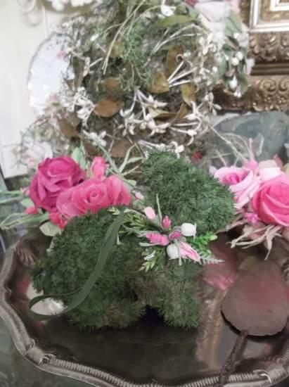(Faux Moss Bunnie) Easter Ornament Woodland Decor