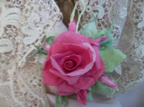 (Shann) Handmade Paper Rose Clip