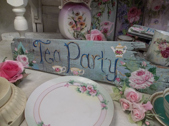 (Tea Party) Handpainted Sign