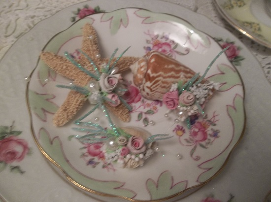 (For The Love Of The Sea) Set Of 3 Decorated Seashells