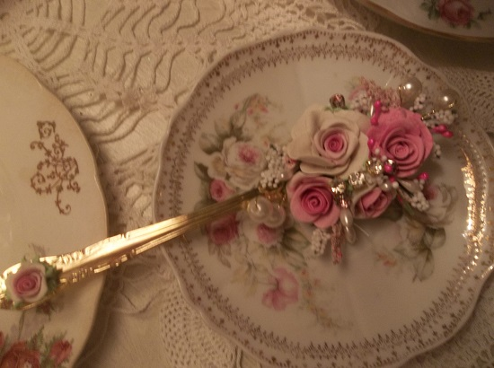 (Berit) Decorated Large Gold Tablespoon