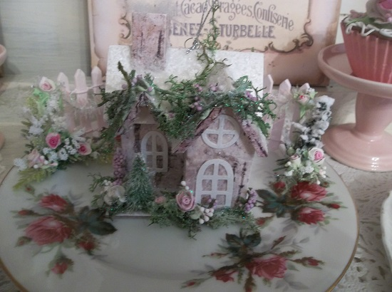 (Little House In The Woods) Decorated Christmas Ornament
