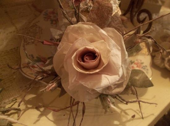 (Caviar Dreams) Handmade Paper Rose Clip