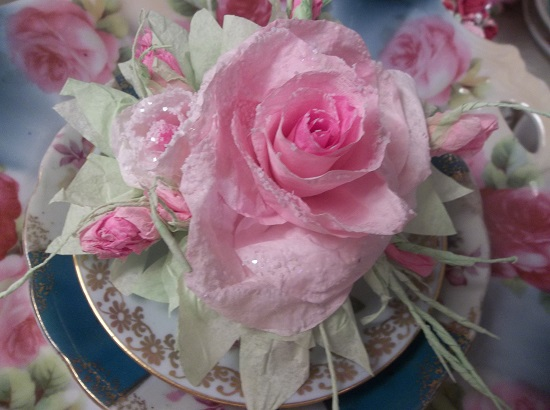 (First Frost Roses) Glittered Handmade Paper Rose Clip
