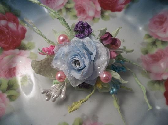 (Rhonda's Rainbow) Glittered Handmade Paper Rose Clip