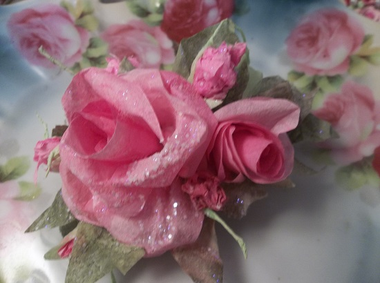 (Promised) Glittered Handmade Paper Rose Clip