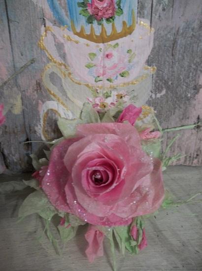 (Cherished) Glittered Handmade Paper Rose Clip