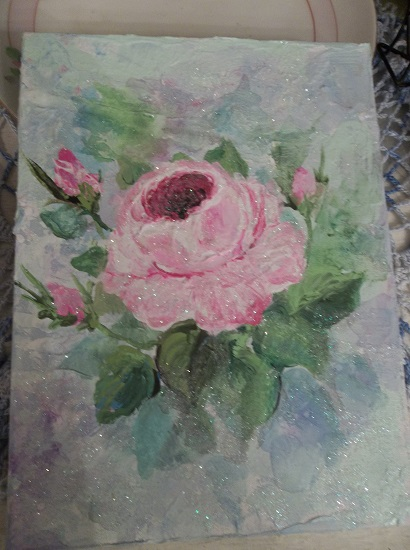 (Glamour Rose) Glittered Acrylic Painting On Stretched Canvas