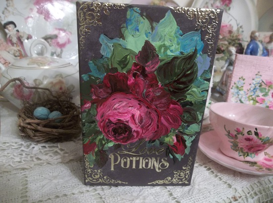 (Deep Dark Love Potions) Handpainted Fake Book Container