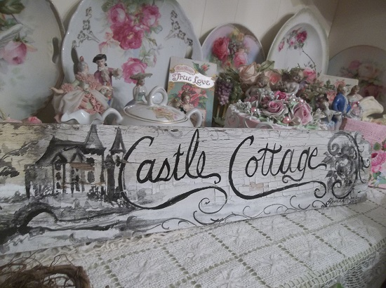 (Castle Cottage In Black & White) Handpainted Sign