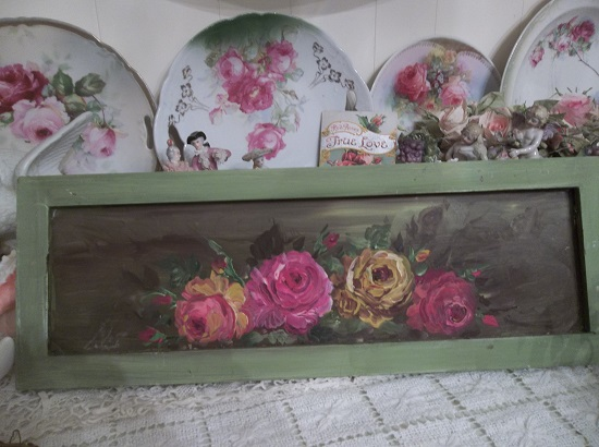 (Old Fashioned Roses) Handpainted Sign
