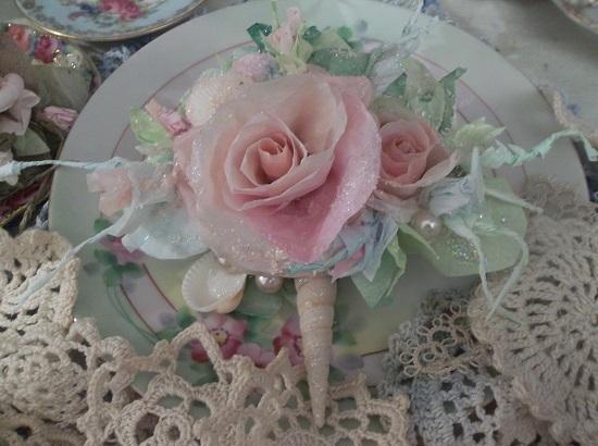 (Ocean Frost Rose) Glittered Handmade Paper Rose Clip