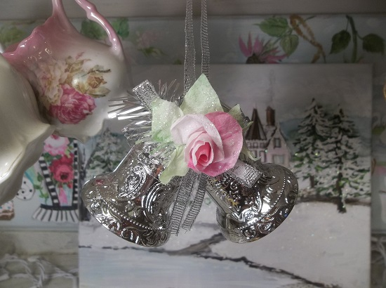 (Pink Christmas) Decorated Silver Bells Christmas Ornament