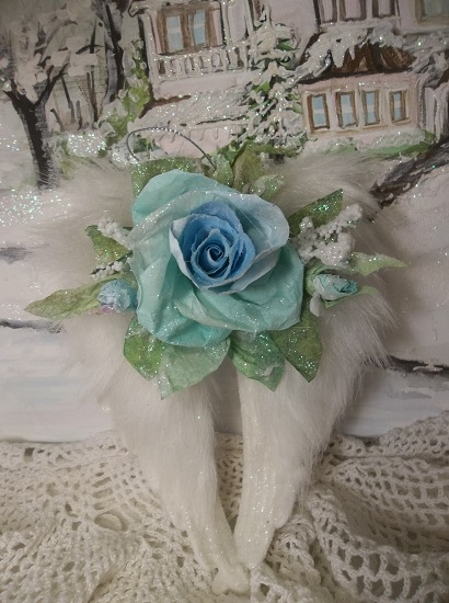 (Blue Angel) Decorated Angel Wings Ornament