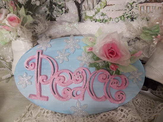 (Frosted Peace Sign) Decorated Wood Plaque