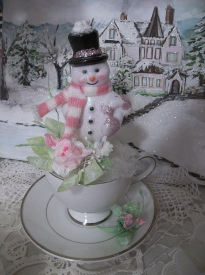 (A Cup Of Wintertime) Decorated Teacup Christmas Decoration